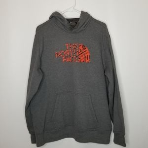 THE NORTH FACE Gray Orange Hood Sweatshirt XL